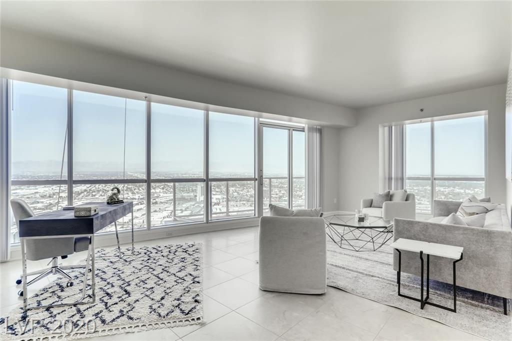 Located on the 40th floor this Large & Luxurious corner 2 bedroom, 2.5 bathroom home has amazing views of the Las Vegas Strip, City and Red Rock mountains. Brand new renovations including; new counter tops, solid surface flooring, carpet, baseboards, lighting fixtures  cabinet treatments & more! This home wont last long.
