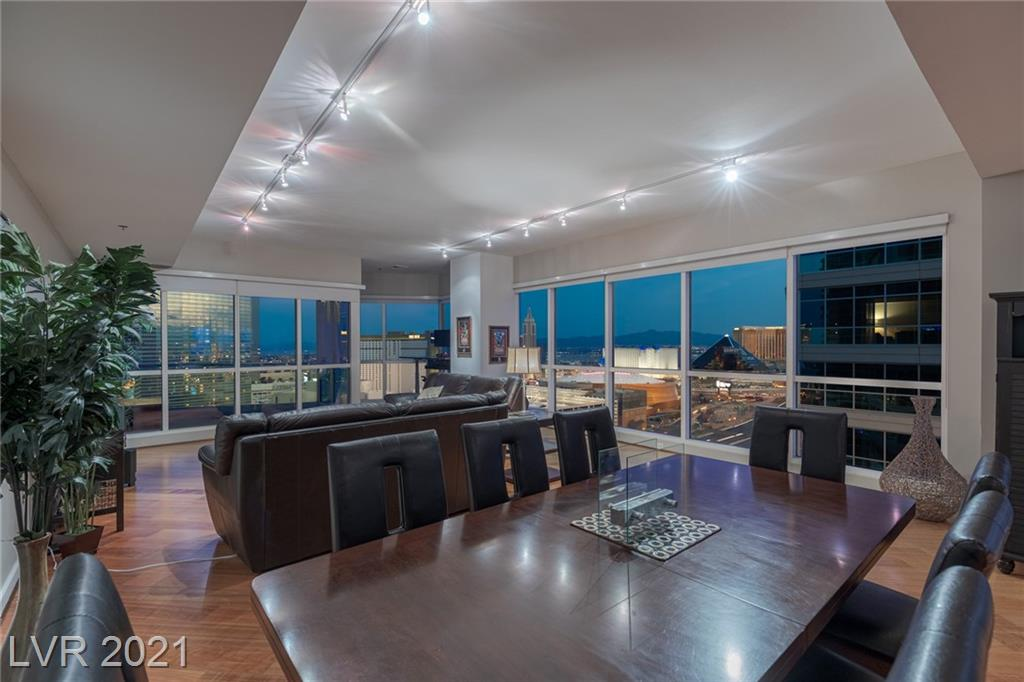 Enter into the stunning 25th floor corner residence, complete TURN-KEY inside the luxurious, Panorama Towers. THE MOST POPULAR FLOOR-PLAN PANORAMA TOWERS HAS TO OFFER!  CLOSEST RESIDENCE TO THE RAIDERS STADIUM, T-Mobile Arena, and city center. This spacious floor-plan offers 2 bedrooms and 2.5 bathrooms. Upon stepping into the residence, opens up the breathtaking view of the Strip, the valley, and serene mountain views on the West side. The most highly desirable residence, illuminated with light in every room, kitchen, and the living area. 180 DEGREE STRIP & MOUNTAIN VIEWS! STOP THE SEARCH, YOU'VE FOUND IT! Two balconies allow to enjoy either a beautiful sunrise and the city waking up and starting to get busy, or the peaceful end-of-the-day sunset retreat before falling asleep. TWO parking spots, amenities, views, stainless steel appliances, DON'T MISS OUT on this rare opportunity to purchase this complete TURNKEY RESIDENCE.