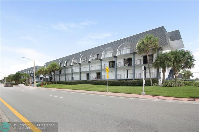 2/2 SECOND FLOOR ON A1A FACING EAST W/OCEAN VIEW. OCEAN ONE BLOCK ACROSS THE STREET. Split Floor plan, with 3 tier balcony and each room having it's own balcony.  Updated kitchen w/SS Appliances, Laminate flooring & Tile flooring.  Impact Sliding Doors, Accordion Hurricane Shutters & Interior Plantation Shutters. New A/C 2014. New Roof 2019, Pool redone 2019, New Hallway Impact Doors & New Hallway Carpet 2019. New Pavers in Guest Parking Area 2019. ONE Covered Parking Garage Space assigned.  Rent after 1st Year, only 1 time per year for 190 days minimum. Maintenance is DECREASING Jan 1, 2020 to $1289 Quarterly. Don't Miss this One!