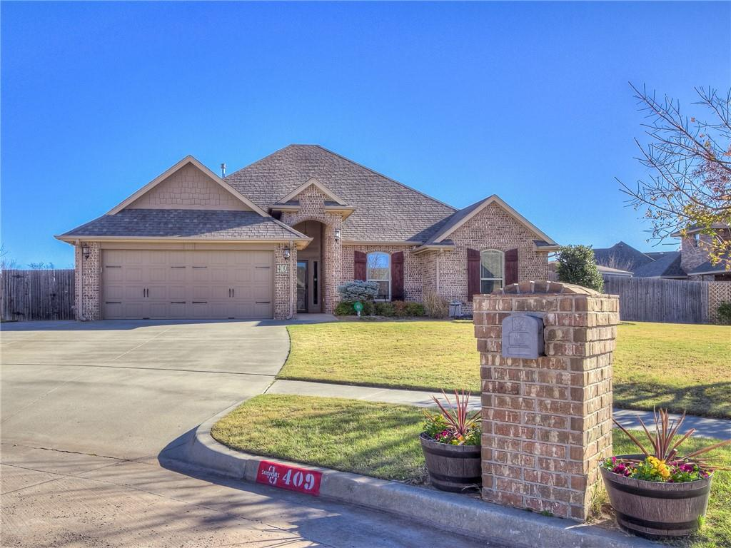 Look no further than this gorgeous gem nestled on a quiet cul-de-sac in Madison Place right in the heart of Moore. Sitting on 1/3 acre this 3 bedroom 2 bath has great access to I-35, shopping, dining and great schools. The moment you walk in you will notice the captivating stacked stone fireplace, crown molding and open floor plan. The kitchen is complete with granite countertops, island, stainless steel appliances, large walk-in pantry and a small office area. The master suite is spacious with a large shower, double sinks and walk-in closet. Each bedroom has plenty of room with their own closets and windows throughout to let the natural light in. Enjoy your weekends hosting get togethers with family and friends in your oversized back yard equipped with a large patio, gas stub out, and shed for all your storage needs. Pristine condition inside and out makes this home stand out from all the rest along with all the extra amenities! Make it yours today!