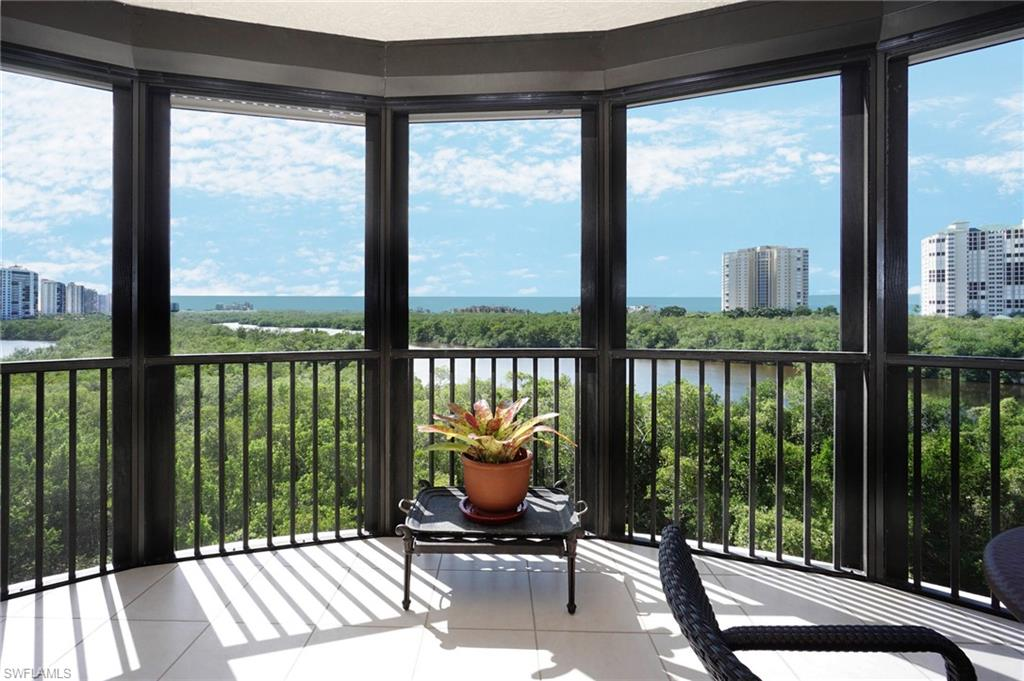 Stunning sunrise and sunsets can be enjoyed from this highly sought after end unit. The 01 stack of Marquesa, a lovely boutique high rise, is coveted for its expansive views and immense privacy. This rarely available end unit provides tons of natural light with its east, south, and west exposures overlooking the beautiful, calming, Estuary and Gulf of Mexico. Among the spacious 2,500 sq feet interior features include newer top-of-the-line appliances, updated baths, custom lighting, 9' ceilings, and newer mechanicals. The outdoor space is abundant with two open air terraces and an oversized screened lanai to enjoy the spectacular views all year round. Bay Colony amenities include private beach access with chairs, umbrellas, and cabanas; Beach Club with pool and private restaurant and Tennis Facilities. Pelican Bay is centrally located between upscale Waterside Shops and the Beachfront Ritz Carlton Resort. In addition to Bay Colony amenities, Pelican Bay residents can enjoy three miles of beach, 2 private beachfront pavilions with restaurant and showers, miles of walking and nature paths, kayaking, canoeing, sailing, fitness center with spa and 18 Har-tru tennis courts.