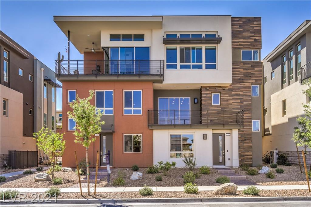 This location cannot be beaten. Truly in the heart of Summerlin, this modern community is located in a 55+ resort style community and there is a 20% occupancy variance within the community for anyone over 19 years old to be a permanent resident! There is still room for your buyer! Do not miss an opportunity to be in a prime location with unbelievable amenities including a resort-style pool and fitness center, located just down the street from Red Rock Canyon for easy bike riding, horseback riding, climbing, walking/running, hiking, easy access to highway, and of course Downtown Summerlin is only a few minutes away! 24-hour guard-gated entrance and security. Brand new unit, The Viewpoint floor plan, never lived in! Customized Master Bedroom Suite with floor to ceiling custom-designed closet system. Covered balcony on second floor. Inspiring chef's kitchen with beautifully upgraded cabinets, stainless steel appliances, tile floors, private 2 car garage, tankless water heater.