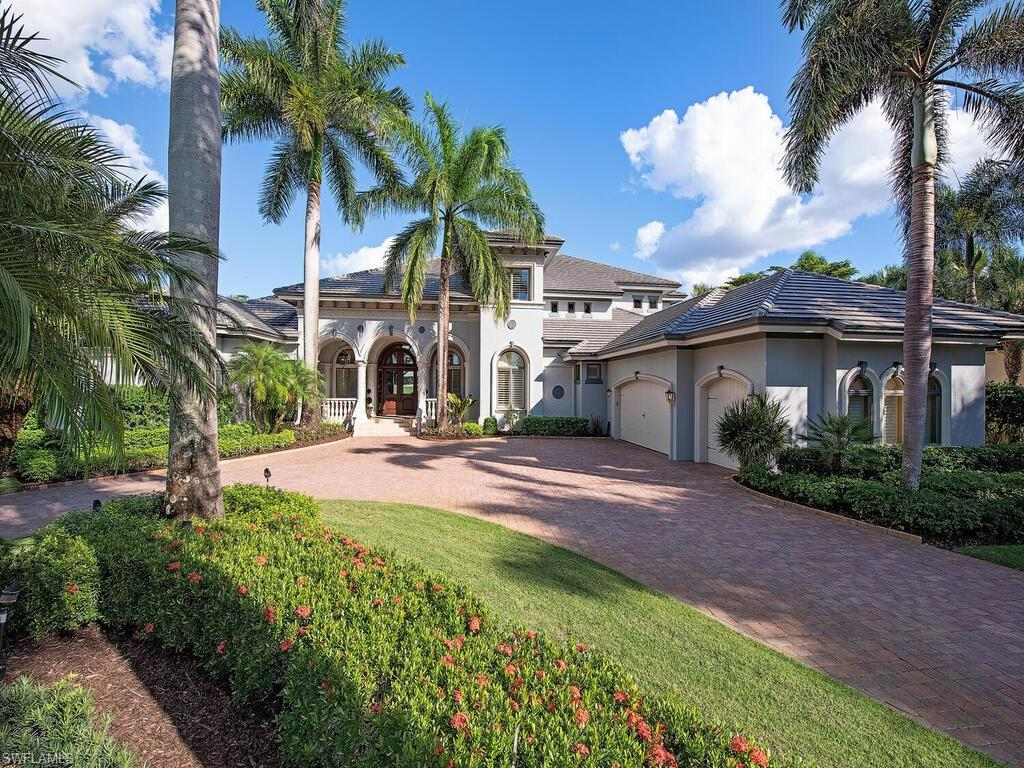 Views! Views! Views! Expansive Long Lake and Golf Course Views! This Grand 2 Story Estate Home Boasts One of the Best Golf Course Views in all of Mediterra! Outstanding craftsmanship is reflected in every aspect of this custom built home. Upon entering the home you are greeted with sweeping views that are visible from every room. Marble floors throughout the home including the lanai. Faux finishes, artwork design in niches, coffered ceilings, custom crown molding, granite throughout. The family room is the pivotal point in the home, it is open and spacious, overlooks the entire outdoor living area. Indoor living flows to the outside where the pool side fireplace and summer kitchen make entertaining a delight. Your family and guests will enjoy the tiered and terraced negative edge pool with water features. Mediterra has all the amenities you desire for Exclusive Upscale Gulf Shore Golf Course Community Living in tropical paradise. New Roof and New Lanai Screens 2018.