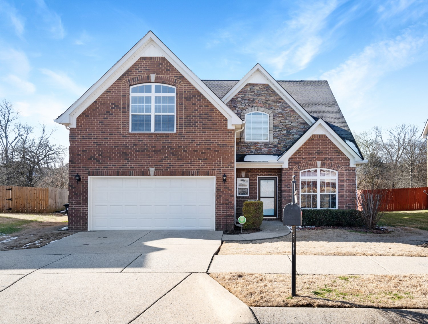 All Brick Home! 4 Bedrooms and 3.5 Bathrooms. Master Bedroom downstairs and 3 Bedrooms upstairs! Formal Dining Room, Hardwood Floors downstairs (Dining Room, Kitchen, Living Room, Hallways),Woodburning Fireplace, Tray Ceiling, Jack-in-Jill Bathrooms, Security System, Patio, Backs up to the Beautiful Community Park! Two Community Parks/Playground,  and Walking Trail in this community. The seller is currently building a new home!