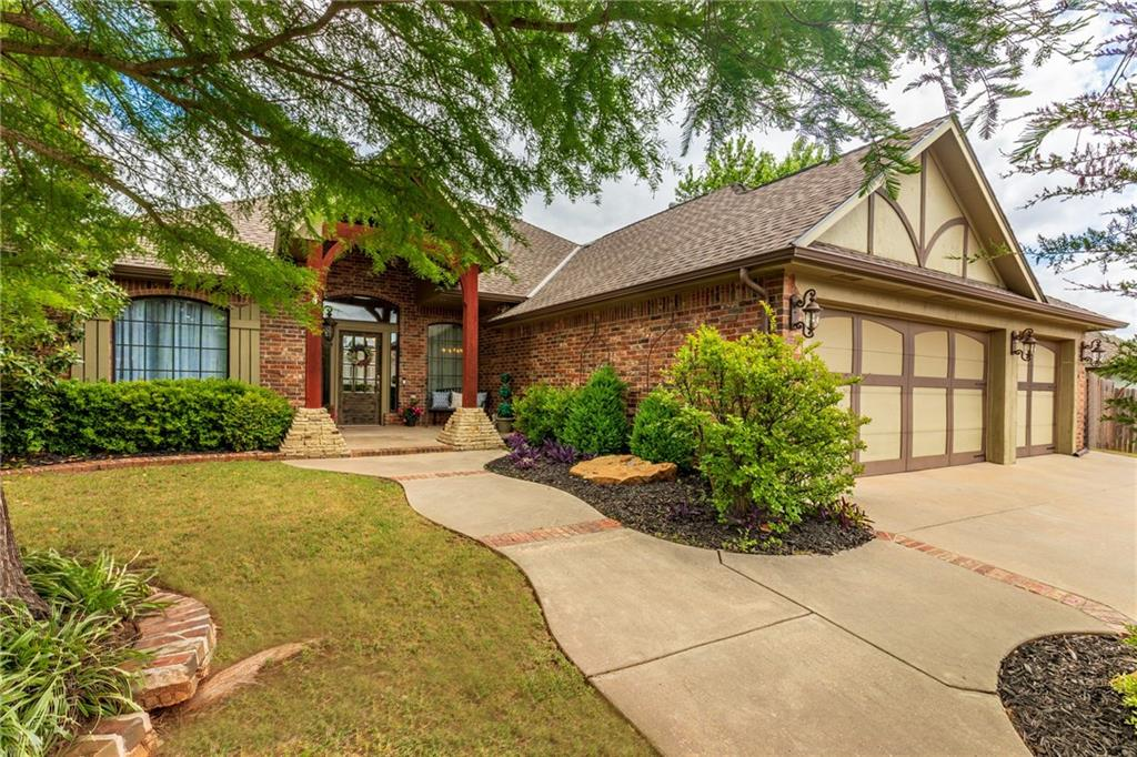 Quality custom home has so many extras.  Inside tornado safe room, solid core doors, lots of crown molding and much more.  Enter into this large entry with a study on the left, formal dining on the right and large living straight ahead. Master suite is separate from the other 2 bedrooms.  The living features floor to ceiling windows, a fireplace and opens to the kitchen.  The kitchen features 2 pantries, 5 burner gas cooktop, granite, stainless appliances, breakfast bar, island and wine rack.  Laundry has a sink and mud bench.  2 patios for plenty of seating and an outdoor kitchen. The 3 car garage has its own A/C, thermostat and lots of builtins. Gated neighborhood with a park and access to Deer Creek Elementary inside the neighborhood. Easy access to the Hefner Parkway and Kilpatrick.