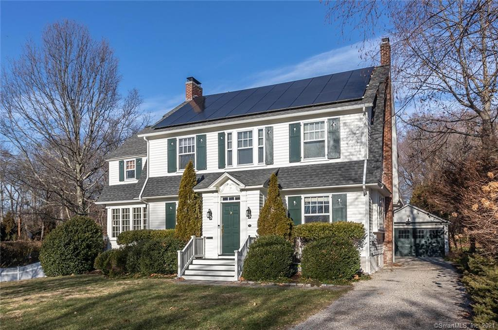 Welcome home to this picturesque Dutch style colonial located in the heart of the sought-after Stratfield neighborhood.  The home boasts a stunning main level with an oversized foyer with breathtaking stairs welcoming you and your guests at first arrival, a formal dining room, living room with fireplace and exquisite built-ins, a beautiful sun room, butlers pantry leading into the kitchen and a main level bedroom with recently renovated powder room.  The second floor offers an over-sized master with a walk-in cedar closet, en suite bathroom and a bonus space for a nursery, office or a grand closet.  Two additional large bedrooms and a bonus sitting area finish the second floor.  The walk-up third floor offers an office or playroom space along with plenty of storage.   The generous flat backyard with stone patio is perfect for entertaining and enjoying.  The home is equipped with solar and the basement has been waterproofed by CT Basement Systems. The home has been featured in various design publications.