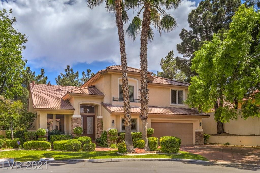 Style, Fun & Luxury! This One Has it ALL. Located in the Guard Gated Community of Country Rose Estates in Summerlin. SIX True Bedrooms & 4.5 Baths on a Cul-De-Sac w/Extended Driveway. Backyard Features a Pool + Spa and a Detached POOL HOUSE (Complete w/Shower, Sink & Commode) Built-in BBQ & Covered Patio. Completely Upgraded Extraordinary Contemporary Design Throughout the Entire Home. 3 Fireplaces, Plantation Shutters & Stunning Laminate Wood Floors Throughout (NO Carpet). Kitchen Features Stainless Appliances, DBL Oven, Cooktop, Granite Counters, Island, Custom Backsplash, Wine Fridge, Coffee Bar Area & Walk-In Pantry. Master Suite w/ Balcony, Vaulted Ceilings, 2-Way Fireplace, LUXE Glass-Enclosed Shower. Extended Dual Vanities, 2 Walk-In Closets. 3 Additional Spacious Beds Upstairs. 1 w/Private Full Bath. Two Downstairs Beds. One is Perfect for an Office/Den with DBL Door Entry. AMAZING Location Walking Distance to the Trails Community Center, Parks, Shopping & Dining!