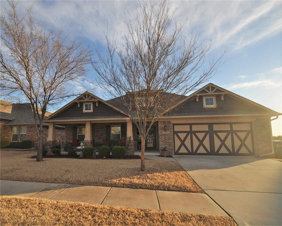 This home defines curb appeal & has all of the bells & whistles! Large front covered porch will be the place to relax & unwind. On entrance, you will notice the architectural details such as; Crown molding, arches, & custom woodwork! The living room boasts a fireplace w/mantel & plenty of natural lighting. The kitchen is open to the dining & living which is fantastic to host gatherings! It features an island w/breakfast bar that has stone accents, SS appliances, built-in hutch, & walk-in pantry! Master suite has a large walk-in closet & En suite spa w/his & her vanities, walk-in shower, & jetted tub. Secondary bedrooms are spacious & serviced by the full bath. Study/Flex room resides off of the foyer! Enjoy outdoor entertainment in the backyard that has an in-ground pool, open patio, covered patio, & retractable awning! This home has full guttering & there is a large storm shelter in the garage! Ranch Canyon Ranch has a playground & peaceful walking trails. 13 Mo HWA provided!