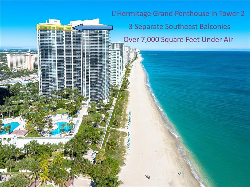 Southeast Ocean Grand Penthouse at L'Hermitage. A Regal Palace in the Sky! Largest available on highest floor of complex. Over 7,000 square feet of living space w/ 6 separate balconies. All encompassing 270 degrees of breathtaking views for sunrises, sunsets, city views, coastline views, intercoastal views.  11' ceilings, private elevators, recently upgraded HIGH IMPACT windows and doors throughout. 6 bedrooms, 6.5 baths, 2 kitchens, formal office, extra storage, separate entrances for large families that want their own living areas. This one of kind magnificent unit is a must see. L'Hermitage is over 10+acres resort style living with a 2.5 acre pool deck, café, pools, spas, saunas, steam, attended beach, pets ok