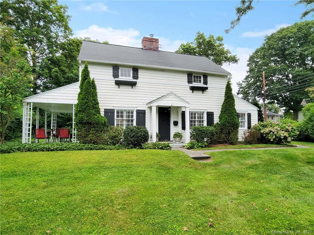 Located in the sought after University area, this classic 1920's colonial is just moments from Downtown Fairfield and the train. Walking in the front door, you are welcomed in by a sense of warmth and charm.  The front to back living room offers hardwood floors, a fireplace and french doors to a covered patio.  The sun filled dining room is deal for entertaining.  The family room, located off the kitchen and dining rooms, has built-ins at both ends of the room.  The kitchen was renovated with stainless appliances and granite counters.  The second floor boasts a primary suite with fireplace, full bath and a walk-in closet.  Rounding out the second floor are three additional bedrooms and a hall bath.  The grounds are private with shed ideal for gardening.  The two car garage has a working wood burning fireplace that could easily be converted to provide more living space.  Move right in and enjoy. Click the virtual tour link.