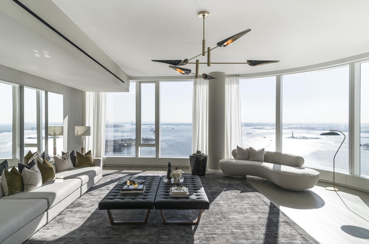ONE MONTH FREE ON 13 MONTH LEASE.NO BROKER FEE! Available June 1st, 2020FACE TIME tours available with the listing agent, PLEASE CALL TO ARRANGE!Half floor Penthouse 60-B, is one of a few PHs atop a striking curved glass tower 50WEST. At 3,594 square feet, this exceptional 3-bedroom, 4-bathroom penthouse covers half floor, offering expansive South-facing views of New York Harbor and Statue of Liberty, Western view of the glittering Hudson River, and North-facing views of One World Trade center and the Manhattan skyline. From an elevator vestibule only shared between two PHs on this floor, you will enter this majestic home, through a formal entry gallery. Continuing through, the hallway brings you to a breathtaking oversized living room, with nearly 100 linear feet of floor-to-ceiling glass wrapping the gentle curve of the sprawling space, offering panoramic vistas. Adjacent to the living room, a formal Breakfast/Dining room flows into the kitchen, which boasts a substantial C-shaped counter tops, a center island allowing for both seamless entertaining and daily living. Meticulously designed by Thomas Jul Hansen, the custom Stevali kitchen features dark stained walnut cabinetry, granite waterfall countertop and backsplash, and top-of-the-line appliances by Miele and Sub-Zero, 6 burner gas cooktop with built-in canopy hood, two ovens, two integrated dishwashers, steam oven, speed oven, extra spacious refrigerator, freezer and full size wine refrigerator. Secluded in the Northwest wing of the residence, the grand corner master suite, offers stunning Hudson River and One World Trade Center Tower views. Master suite offers two massive walk-in closets plus huge windowed dressing room. Windowed Master bath finished with custom slab marble feature walls, radiant heated floors, steam shower, sauna, electronic Toto toilet, and double vanities. A sculptural free-standing tub sits center stage of this elegant space. Two additional light-filled bedrooms feature an en suite bath and have incredible water views. A full Fourth Bath, vented washer and dryer and hardwood oak floors throughout complete this magnificent Penthouse residence. The apartment features Lutron controlled system and motorized shades throughout.A world-class condominium tower located in what is now called New Downtown. 50 WEST soars over 786 feet, offering 186 residences ranging from one-bedrooms to full-floor penthouses. 50 Street Luxury Condominium is surrounded by the best that the Financial District has to offer. Building features over 30,000 square feet of private indoor and outdoor spaces curated by Axiom Management, which provides social events for adults and kids. Those spaces include four levels of state-of-the-art amenities such as: Observatory with 2 BBQ grills, Water Club with the 60-feet lap pool, sauna, steam room and hot tub, separate floor for a generous fitness center and full floor for entertainment, designed with multifunctional zones for different type of events. A true and unique living experience and lifestyle.