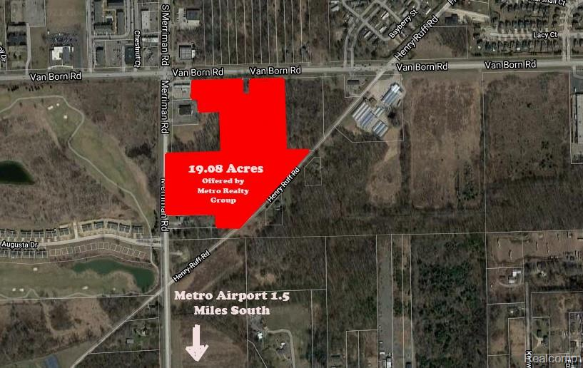 19.02 Acres ready for your plans. Currently wooded with frontage on three roads, Merriman, Van Born and Henry Ruff. Located in Romulus just two miles north of the Detroit Metro Airport. Close to freeways and new developments. Seller willing to explore creative financing options for the right plan. 695 ft on Van Born, 864 on Henry Ruff and 502 ft on Merriman Rd. Zoned for commercial or residential. Newer golfing community development across the street. All utilities are at the street. Bring your ideas and plans. The sale includes four tax ID Parcels #80006990017001, 80006990017002,80006990014002, 80006990018701.