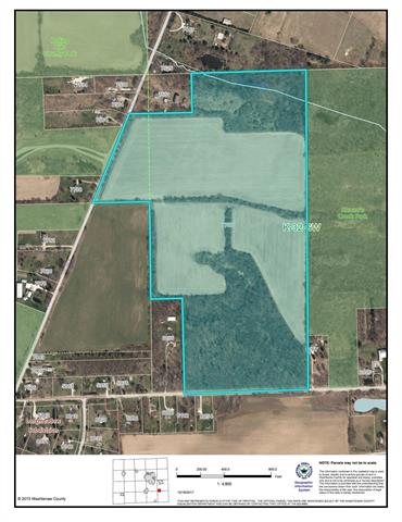 Wonderful development property in the path of future expansion. 80 acres of farmland and woods.   Perfect for a neighborhood with parks on two sides.