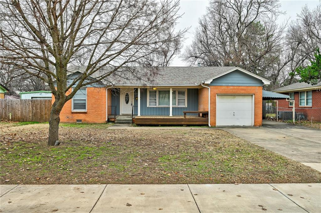 You'll love this charming home with lots of character! It is ideally located on an almost-quarter-acre lot in a quiet neighborhood near restaurants, shopping, I-35, campus corner, and the University of Oklahoma.  It is a very close walk to Jackson Elementary School, and also oh so close to Alcott Middle School and Norman High! There is tons of flexible space for relaxing and entertaining with this flowing layout - living room, dining room, office, and den. There is a completely remodeled bathroom with huge walk in shower. One car garage PLUS a covered parking area. Refinished hardwood floors flow throughout with beautiful stained concrete in one room. You'll enjoy a great front porch + deck and a lovely patio area in the backyard for relaxing. There is even a spot in the back for a coy pond! The home has newer HVAC and duct work, new paint, newer roof, and refinished hardwood floors.