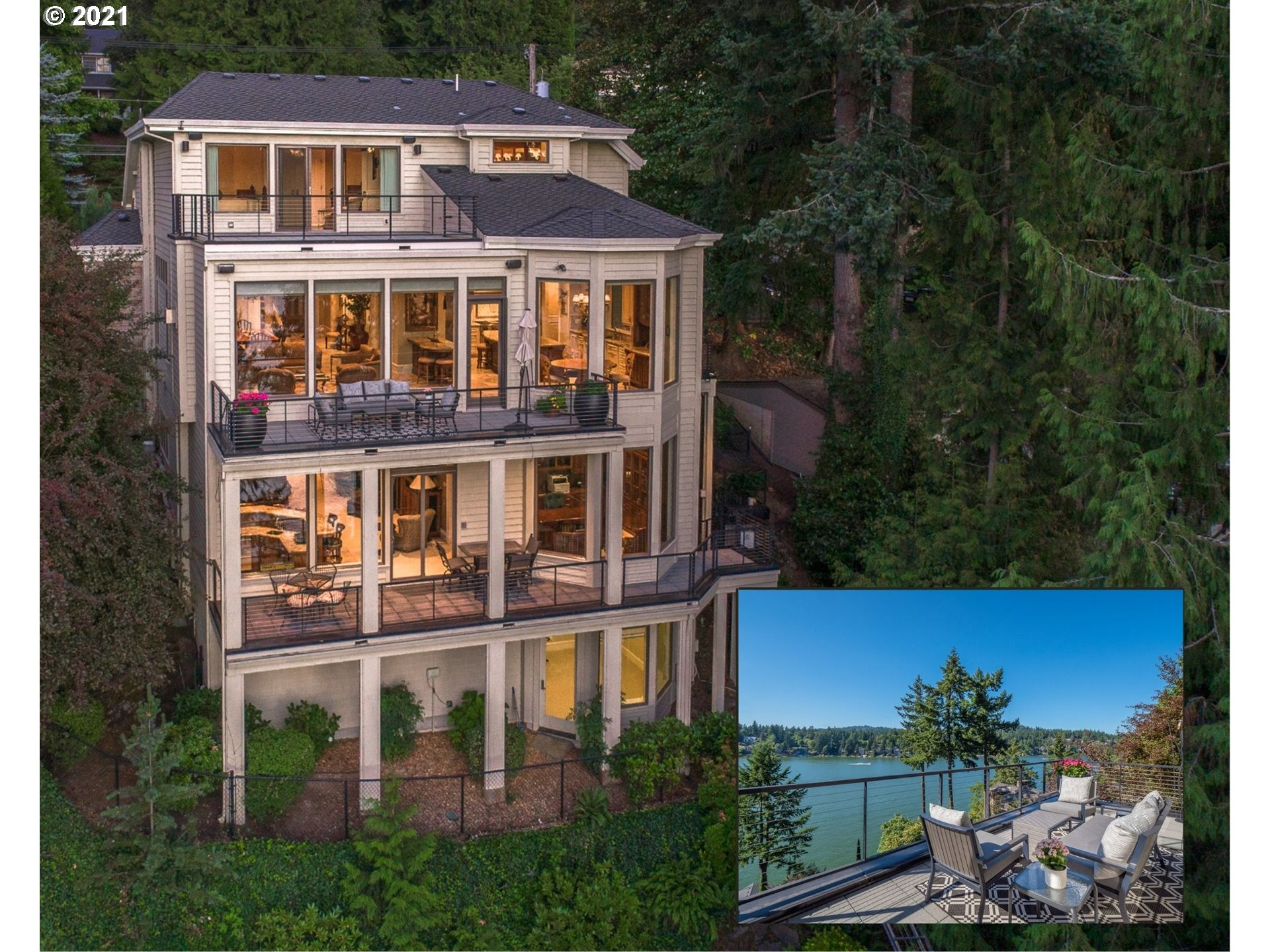 Cinematic Oswego Lake views from all 4 levels & spectacular decks create an absolute haven in this idyllic main lake location! This custom crafted retreat offers a private tram to boathouse w/lift, breathtaking high ceilings & floor to ceiling windows that showcase the water views. A gorgeous great rm gourmet kitchen w/dining decks & entertainer's family rm w/deck & full bar are ready to welcome guests. Dive off your private dock & into coveted lake water sports; minutes to vibrant LO amenities!
