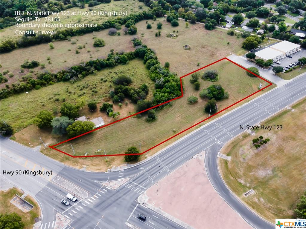 2.17 ACRE COMMERCIAL CORNER.  LOCATED AT HIGH TRAFFIC CORNER OF US HWY 90 (KINGSBURY ST) AND STATE HWY 123 BYPASS.  CLOSE PROXIMITY TO IH10 AND THE 130/IH10 INTERCHANGE.  SEGUIN IS EXPERIENCING RECORD GROWTH AND NOW IS THE TIME TO CAPITALIZE ON THIS IDEAL LOCATION.