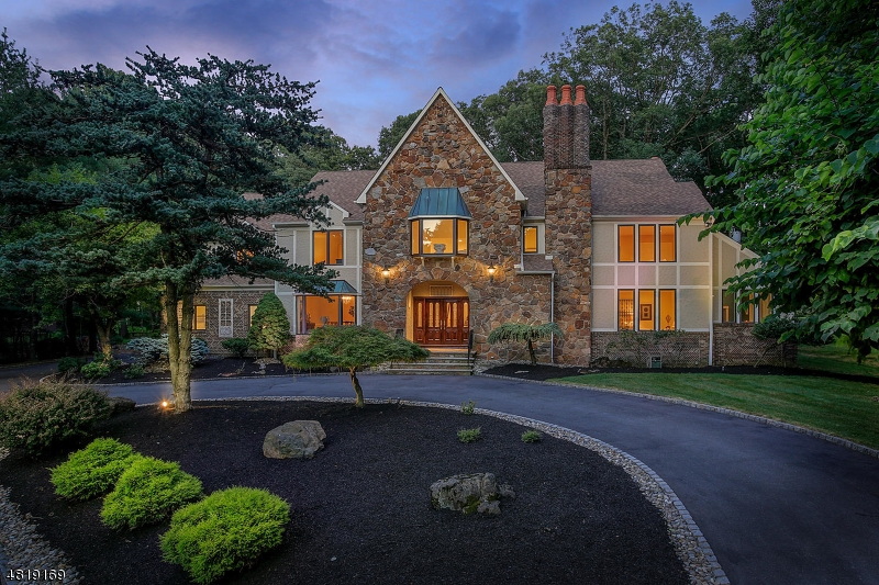 BEST VALUE per sq ft in Somerset County. Very Spacious 4 levels with bonus loft guest suite. Exclusive Neighborhood. 6 Bedrooms, 5 full baths, 2 half baths. 4 car garage. 3 sided stone exterior. Over 6650 sqft+2560 sqft with personal elevator. Magnificent 2000 sq ft Bluestone patio w built in kitchen. Elevator on 3 levels 1st, 2nd floors and basement. Kitchen with granite, marble, new stainless steel appliances and separate eat in area and butlers pantry. 3 level entry foyer. 1st floor w 10' ceiling, oversized custom windows.Library w cath.ceiling. 3 fireplaces. Huge master bedroom suite w sitting area, 2 large WIC,steam shower and sauna- pvt. terrace. Fin basement w custom mahogany bar w beer taps, separate media area, fireplace and full bath.