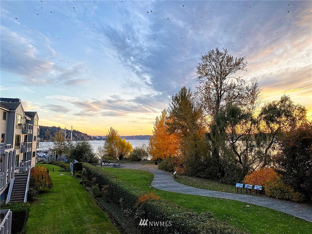 Majestic sunset view top floor townhouse overlooking Lake WA & Log Boom Park greenbelt. 2 Lg bdrm suites each w/a private full bath & vaulted ceilings. Mstr w/fireplace & walk-in closet. Perfect loft area for office. Main flr w/light-filled open living & dining room, gas fplc & mini bar. Spacious kitchen w/breakfast counter, many cabinets, pantry, all appliances incl. New paint & carpet. Relax on 2 sunny decks. Watch seaplanes & boats float by! Common garage w/private tandem pkg + storage rm. Gated community offers resort-like living! Outdoor pool next to marina, courtyard, lush grounds, common workshop. Enjoy strolling dockside trails or fish from the pier!  Next to popular Burke Gilman Trail for endless recreation! Fast commute to dtwn!