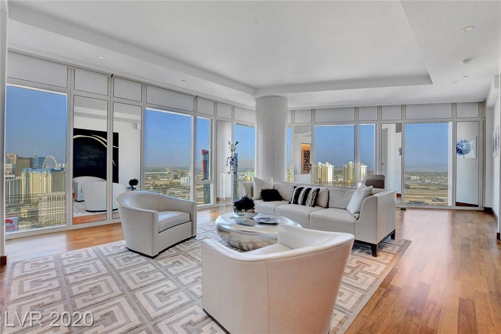 Sitting on the 35th floor over looking the fabulous views of the Las Vegas Strip, this 2 bedroom Luxury Condo is located in the prestigious Waldorf Astoria.  The finest of finishes are shown through out this gorgeous property.  This condo is an incredible display to high end design, with the first class amenities; a true entertainers dream.   This is, one of a kind high rise living at its best, with exquisite views!