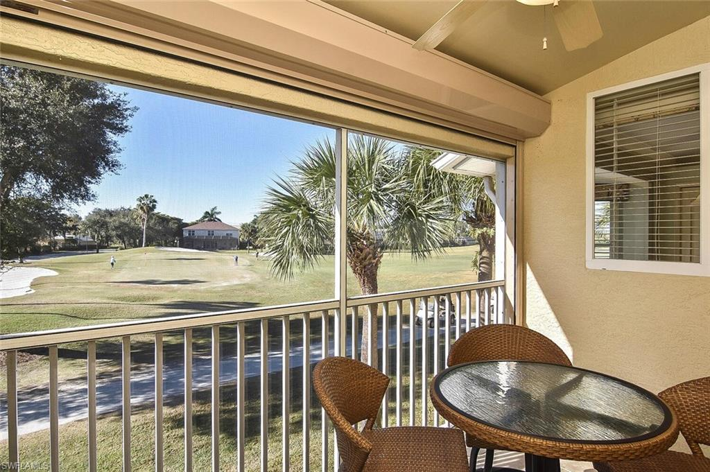 Sitting on your lanai with your morning coffee, overlooking the 10th green, and a view of the 16th Tee at Stoneybrook Golf Course.  2 Bed/2 Bath Beautifully professionally decorated and fully furnished. Stoneybrook is a gated community with a public golf course built in. Stainless appliances (2018), A/C (2019), Water heater (2018), and Hurricane Shutters installed (2019), TV (2021), Turnkey - just bring your flip flops and toothbrush! Ceramic tile in living areas including the lanai, carpet in bedrooms, faux painting, cathedral ceilings. Carport parking with a large storage unit with built in shelves. Low association fees, that include water, cable, and pest control. The amenities have something to offer everyone. Public golf course, pool, community pool, exercise room, tennis courts, basketball, volleyball, pickleball, bocce, hockey rink, children's play area, baseball, and soccer. Easy access to SWFL International Airport, Miromar Outlet Mall, restaurants, the university, Hertz Arena, and I-75.