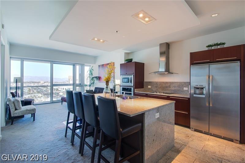 Priced to SELL!!! Contemporary 2 Bedroom 2 Bath unit w/Mountain views on the North & city views as well from the living room & the master bedroom. FULLY FURNISHED! READY TO RENT OR MOVE IN! Elegant finishes through with Carrera marble, Kashmir Granite, soft close cabinetry, Stainless Steel Appliances. Tower includes Fitness Center, Pool & Spa w/Cabanas, Peaceful Courtyard, Valet, Library & is close to City Center!!!! Vegas Living at its Finest!