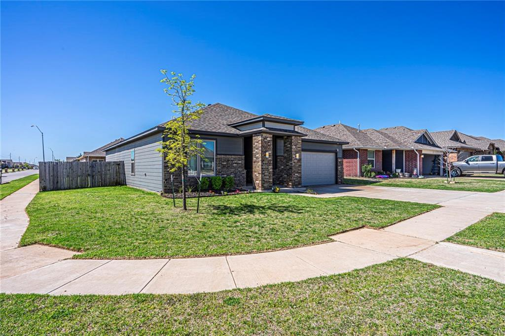 Beautiful Custom built Timbercraft home that is featured as an OG&E positive energy home - 3 bed 2 bath located in Calm Springs Addition on a very nice corner lot.  When you walk in you just feel at home in this lovely open concept with gorgeous Quartz counter tops. all stainless steal appliances, gas stove and a very nice bar area for seating, a wonderful spacious pantry, nice laundry room that is right off the mud room area.  Very nice size rooms with double door closets in each.  The master is very nice size with the bathroom having double vanities and double closets and the shower has a fantastic rain shower that is so relaxing!  Home has 6 years foundation warranty, security system, tank-less hot water heater, so so many upgrades in this home!!!   Schedule your showing today before its gone!!