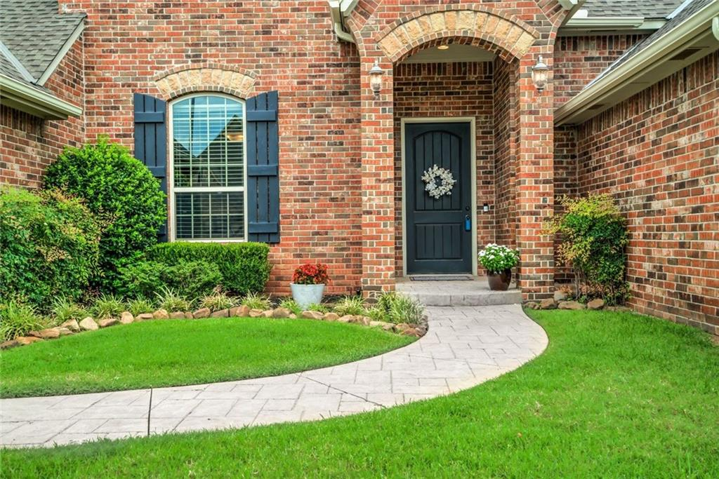 Upon entering this spacious Energy Star Home, you will be greeted with high ceilings and tall windows, bathing the open living spaces with lots of natural light. An entertainer's delight, this home features a formal dining room, a large casual brunch area and a wide bar to seat many guests. From there your family and friends can move out to the generous north facing covered patio and be perfectly protected from the evening sun. The home's 4th bedroom is theatre ready. Other features include a private master suite with an amazing walk in closet,  a private office with bookshelves to work comfortably from home and a storm shelter. Thornhill is truly a lifestyle neighborhood featuring a disc golf course, basketball court and playground. Location is ideally situated between the heart of Edmond and the main artery into OKC. This home is pristine and we kindly ask you to remove your shoes while touring. No showings til Sunday 5/17 at 2:00pm.