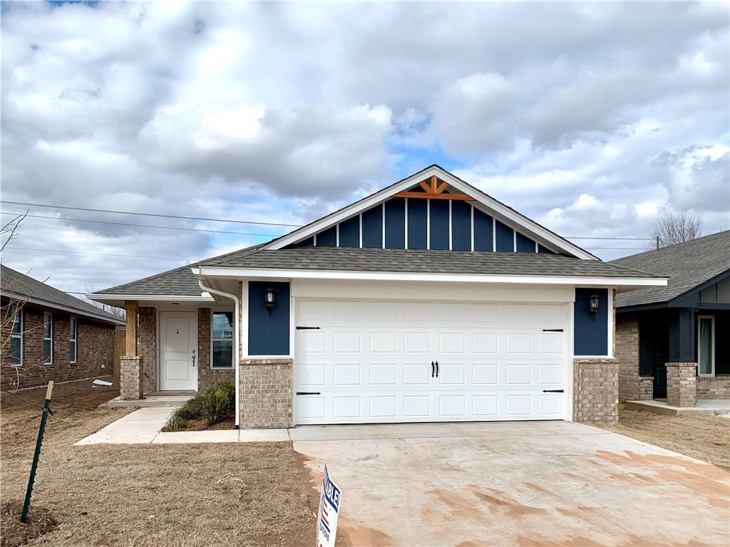 Brand NEW construction but can be reserved today. Please schedule a showing to learn more about current phase of construction! This very popular floor design is an open layout featuring a beautiful kitchen with a very large island, granite counter tops, black appliances, and custom wood cabinets. Landscaping package, 6 foot wood panel fence, and back patio are also included. Located in Mustang school district with 2 community playgrounds, basketball area and splash pad! Beautiful new home under construction at an excellent price! Schedule an appointment today!