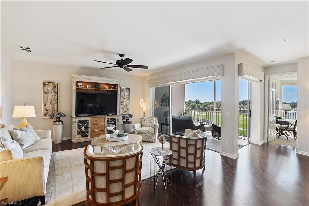 C.17900 - Enjoy expansive water & golf course views & desirable Southern exposure from this tastefully updated & beautifully appointed fully furnished 3 bdrm/2 bath condo in the upscale community of Clermont in Pelican Marsh. Easy no-stair elevator access to this spacious 3rd floor unit directly from the large underground, deeded garage. Updates throughout including hardwood floors, updated kitchen with stainless appliances & wine fridge, remodeled master bathroom, plantation shutters, and more!  Flexible rental terms allow for personal use to be off-set by rental income! Fantastic location within Pelican Marsh - walk to tennis center, short drive or bike ride to golf club. With new roofs, newly painted buildings, newer paver streets & driveways, Clermont also has its own pool/spa & club house. Pelican Marsh has multiple entrances for easy access to shopping, dining, the beach (just 3.5 miles!), & entertainment.