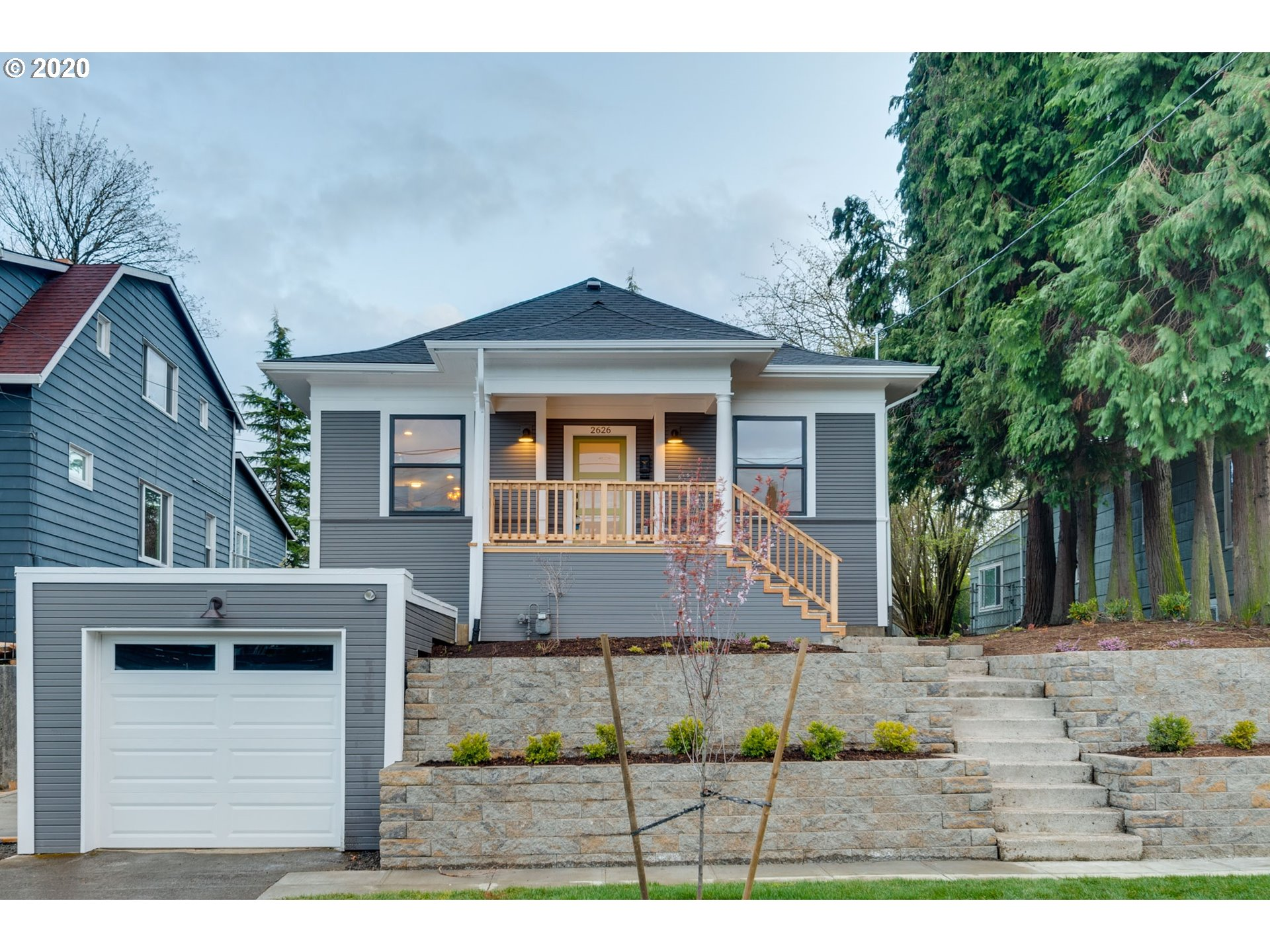 Fantastic location walk/bike to shopping, restaurants, cafes, quick access to downtown Pdx. Completely remodeled down to the studs - new roof, sewer line, windows, HVAC, wtr htr, electrical, plumbing, flooring, drywall, fixtures. Master suite on main has w/in closet, tiled shower, French doors to backyard. Kitchen features eat-in island, pantry, quartz counters, tiled backsplash & black Matte SS appliances. Permitted finished basement has 4th bedroom, full bath, large family room & bonus room. [Home Energy Score = 4. HES Report at https://rpt.greenbuildingregistry.com/hes/OR10183207]
