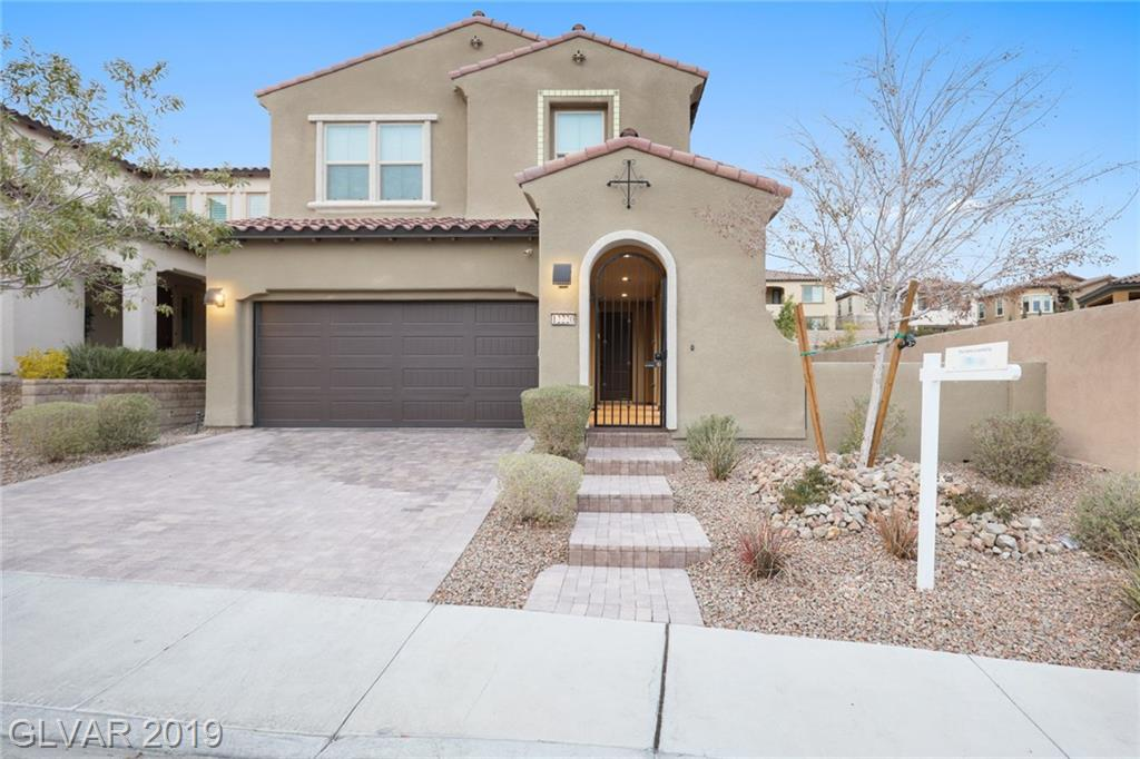 Exceptional TWO STORY 4BDRs & 3.5BTHs HOME at gated The Paseos in Summerlin! Courtyard leading into two-story foyer. Dbl door entry to Den/Office. FL Dining divided w/see-through wall. Family Rm w/tray ceiling overlooking gourmet Kitchen w/granite cnts, backsplash, SS appls, built-in oven, cooktop, vent hood, island, pantry & nook. All BDRs upstairs w/huge Loft. Vast MBDR w/sitting area, walk-in closet & spa-like MBTH. Backyard w/covered patio.