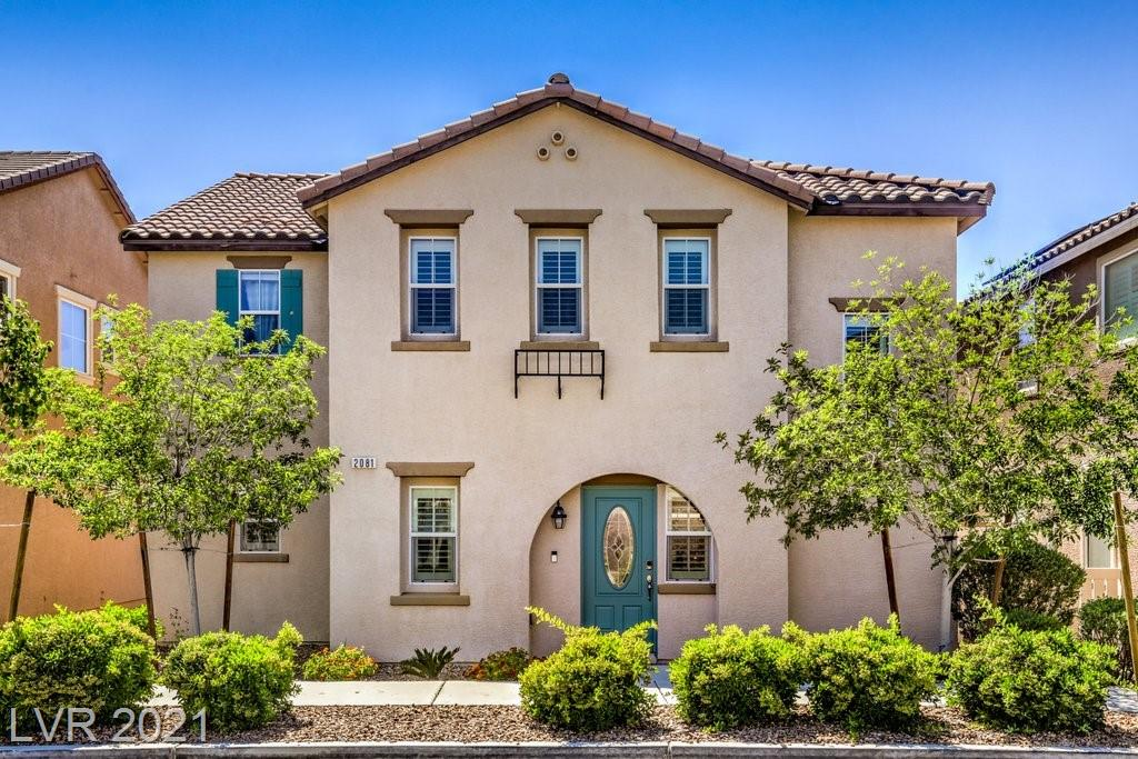 No need to wait for a new build!  Gorgeous highly upgraded home in the beautiful Master Planned Community of Inspirada.  This 3 bedroom plus loft two story has everything you could ask for.  Open concept first floor with chef's kitchen, stainless steel appliances, separate dining area, guest bathroom and large great room that overlooks a spacious backyard w/ covered patio, fire pit and beautiful landscaping.  Upstairs you will find the double door owner's suite, two guest bedrooms, separate laundry room AND a great loft area perfect for a home gym, game room, office, additional family room or VGK lounge!  Home also comes with a whole house electronic air cleaner which is great if you have any allergies. Just a short distance to the community tennis courts, pools, parks, pet parks and the latest addition to Inspirada, Romano Mercato Italiano located in Solista Park.  2081 Self Portrait is warm, inviting and shows like a model home.  See you soon.