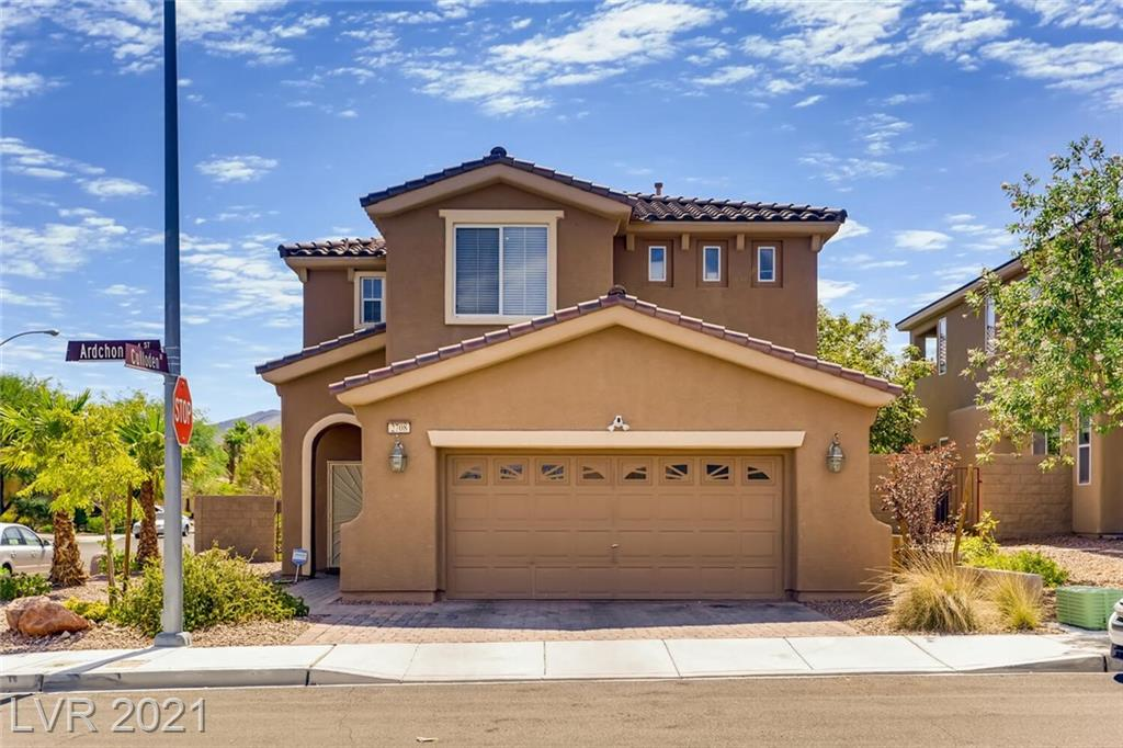 Beautiful home on a desirable corner lot in prestigious Anthem Highlands. Spacious greatroom layout with island kitchen downstairs and four bedrooms!  Charming French doors lead to lovely landscaped backyard with full length covered patio. Gas fireplace in family room.  Custom light fixtures, ceiling fans, faux wood blinds, raised panel doors.  Primary suite leads out to a full covered balcony with a view of the mountains. Seller will credit buyer $5000 (towards closing costs) for paint and carpet.