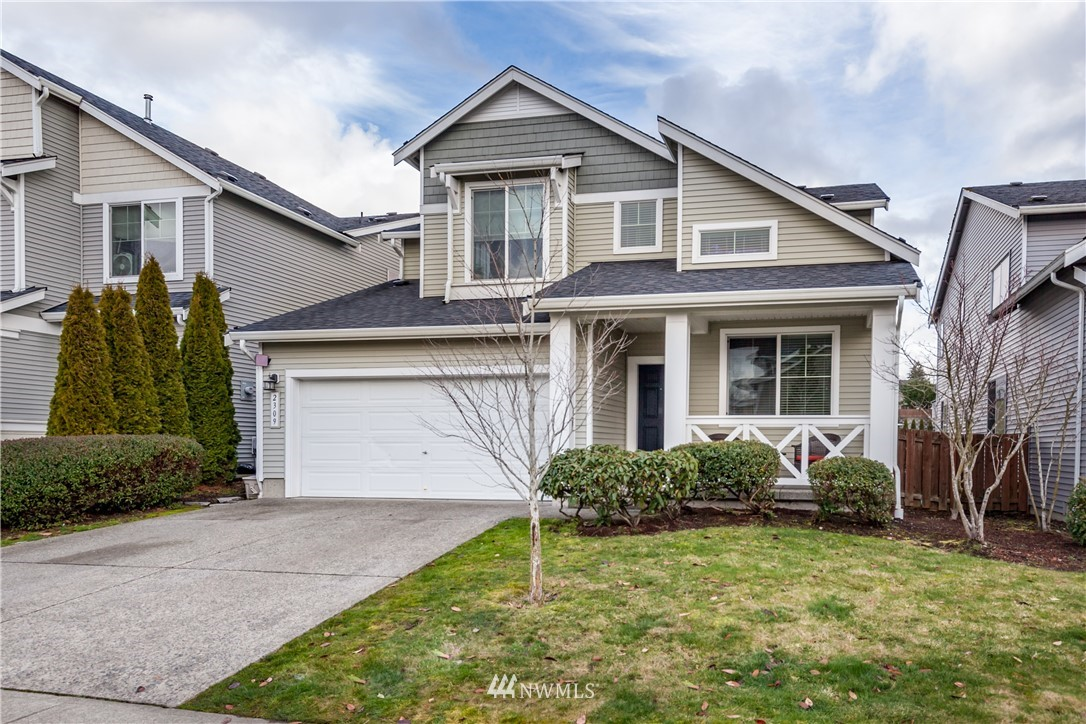 Beautiful home in Dieringer School District with central A/C and Mt Rainier views. Open concept kitchen has stainless appliances, tiled backsplash & center island. Main floor office has French doors and vaulted ceiling. Huge master bedroom has Mt Rainier view, large walk-in closet and 5-piece private bathroom. Two additional bedrooms plus bonus room upstairs. Spacious, level fully-fenced yard includes patio & large shed. Yard backs to neighborhood pond for extra privacy and wildlife viewing. In a great walkable neighborhood with park & playground, close to shopping & restaurants.