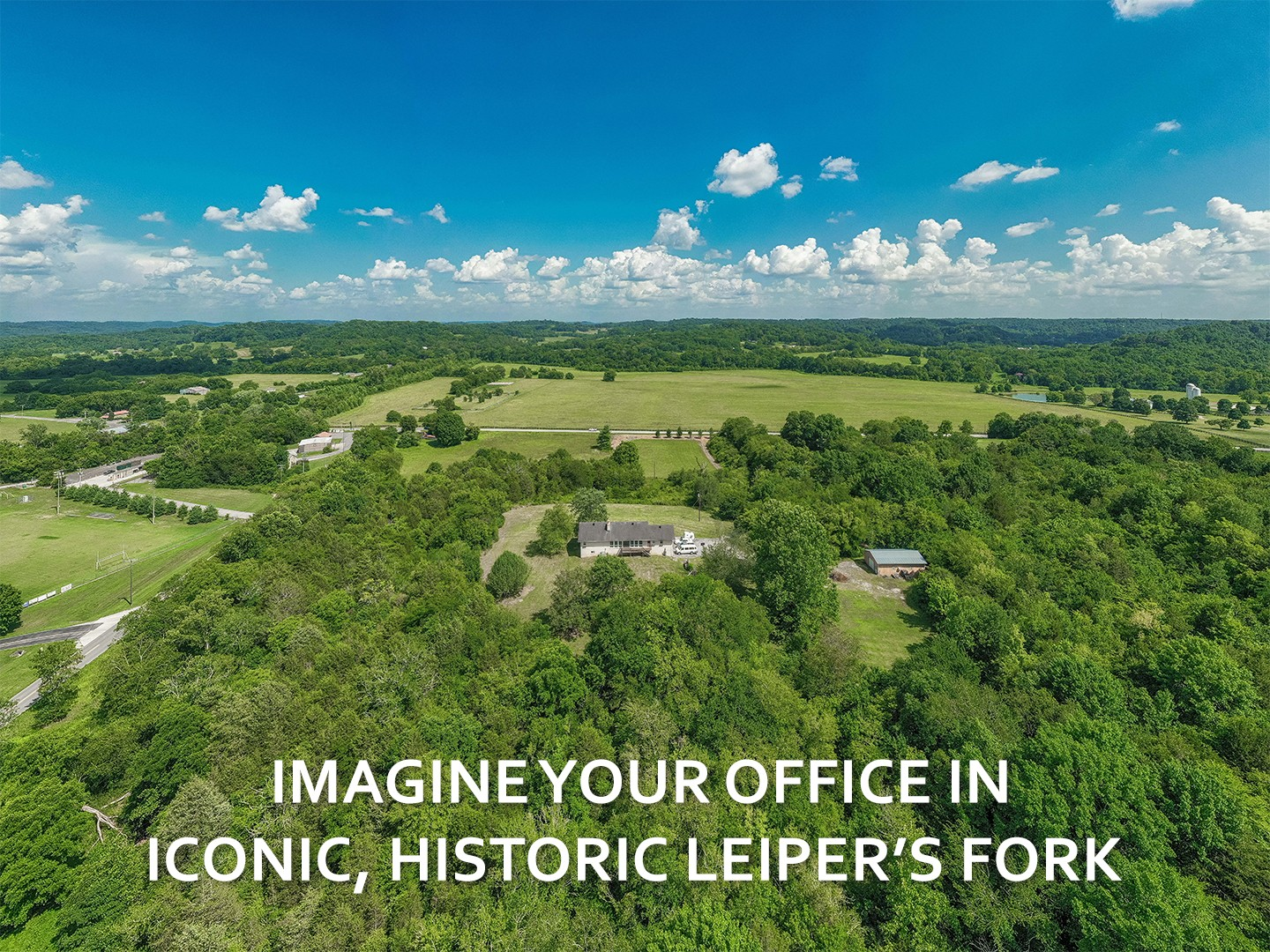 Picture your company in this spectacular location where sunrises and sunsets add priceless value to your work! A retreat from the rat race, in iconic Leipers Fork, yet only an hour from downtown Nashville and the airport. Zoned for 22 employees, BREATHTAKING VIEWS, close to Pucketts and the village. 10 acres surrounded by protected green space and the Natchez Trace Parkway.
