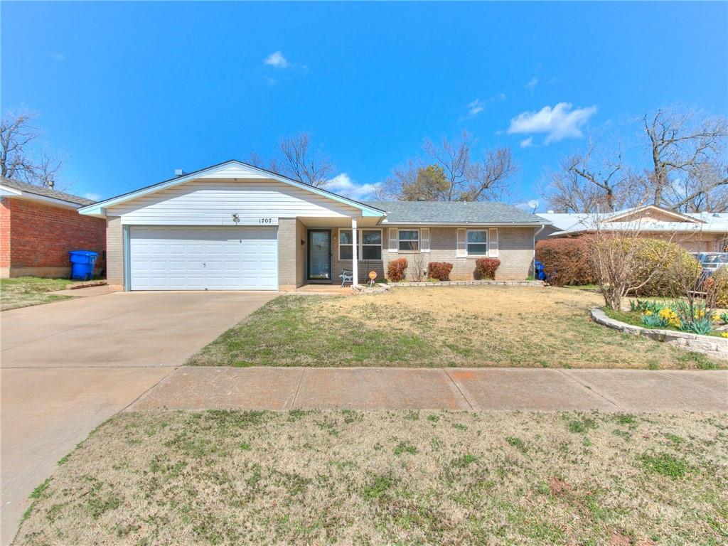 This 3 bedroom, 1.5 bath, 2 living room, brick home has been well maintained & appears to be in excellent condition!  The garage has been converted to a living room w/ wood-burning fireplace, utility room & storage room (garage door still opens for storage area).  Large Backyard with extra-large covered patio, 2013 Storm Shelter & storage building.  Pier work was done in 2000 & has a transferable warranty.  2015 Roof.  At some point, windows, siding, kitchen appliances & RE-BATH  were updated.  An excellent home just minutes from OU!  Make plans to visit this one! ***Home appears to be in excellent condition, selling AS-IS***