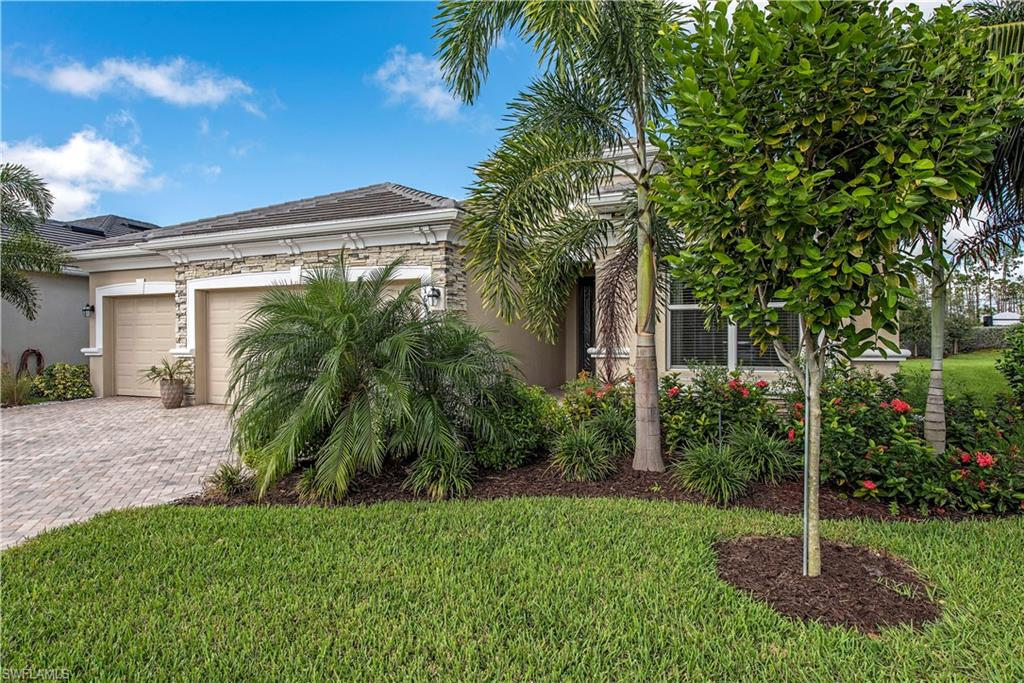 Ready now! One-year new! This home is a fresh canvas for homeowners planning to spend this season in Bonita Springs. This 4-BR, 2-BA pool home with a 3-car garage has been meticulously maintained. Plenty of natural light and the well-appointed interior make it an easy call.  Living areas are tiled while the bedrooms offer plush carpet selections. Stainless steel applicances, gas cooking and beautiful granite compliment the white Shaker kitchen cabinetry. The outdoor experience exceeds expectations with ample covered space adjacent to the well-designed pool and spa which overlook long green lawns and lush landscape. The entry landscape has been enhanced and is cared for by the association in this maintenance-free living community with low HOA fees. This exceedingly popular community off of the booming Bonita Beach eastern corridor includes children's play area, Bocce ball, tennis and basketball. Landscaping is maintained by the association with other maintenance-free living options available. With Bonita Beach Rd and I-75 just minutes away, the best of Bonita Springs and Naples require little more than a short drive. Well-priced against new, this home won't be on the market long.