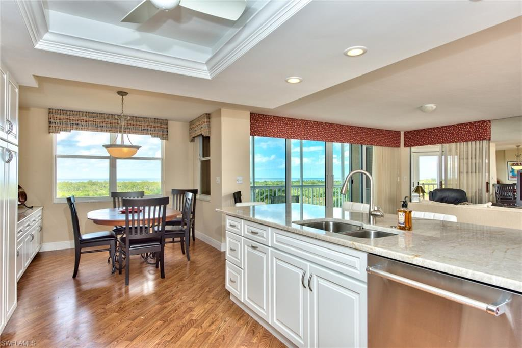 Beautiful 5th floor corner unit with GORGEOUS VIEWS of the gulf! The photos just don't do the view justice. The kitchen has been completely remodeled with marble counters and all new appliances. It opens seemlessly to the dining area and to the great room. The eat in kitchen has an extended counter for extra storage and to use as a buffet. The large master has an ensuite and there are two guest bedrooms as well as a glassed in den overlooking the gulf for spectacular sunset views. The third bedroom has an attached armoire with drawers for great storage. Next to the den there is open lanai space to enjoy the gulf breezes. All new HVAC in 2020 as well!  **St. Kitts is going through a fabulous remodel of the pool area, fitness center and social room with kitchen. All are slated to be completed by the third quarter in 2021!