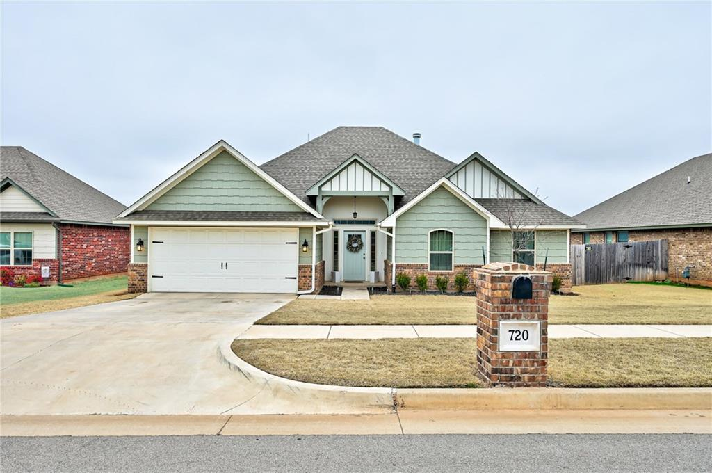 Don't miss out on this one of a kind, custom home in sought after Chisholm Crossing! Inside you will find a open floor plan with beautiful granite, tile and white crown molding. The kitchen is equipped w/plenty of storage & an island w/seating space. Master bedroom is tucked away from the other 3 rooms. It boasts a higher ceiling & leads to a zen bathroom w/double sinks. The updated light fixtures, large backyard, & covered patio make this home perfect for entertaining guests! The exterior of this home was also updated to reflect its inside charm! This home is located in a family-friendly neighborhood that includes a playground, splash pad, large pond, & walking trails! Close to shopping, restaurants and Yukon's 5-star rated school system. Commuters also enjoy the new entrance of the neighborhood via Chisholm Trails Dr. onto 10th St. Offering access to Kilpatrick Turnpike under 3 minutes. Oklahoma City downtown & airport in 15 minutes. This home will go quick, stop by to check it out!