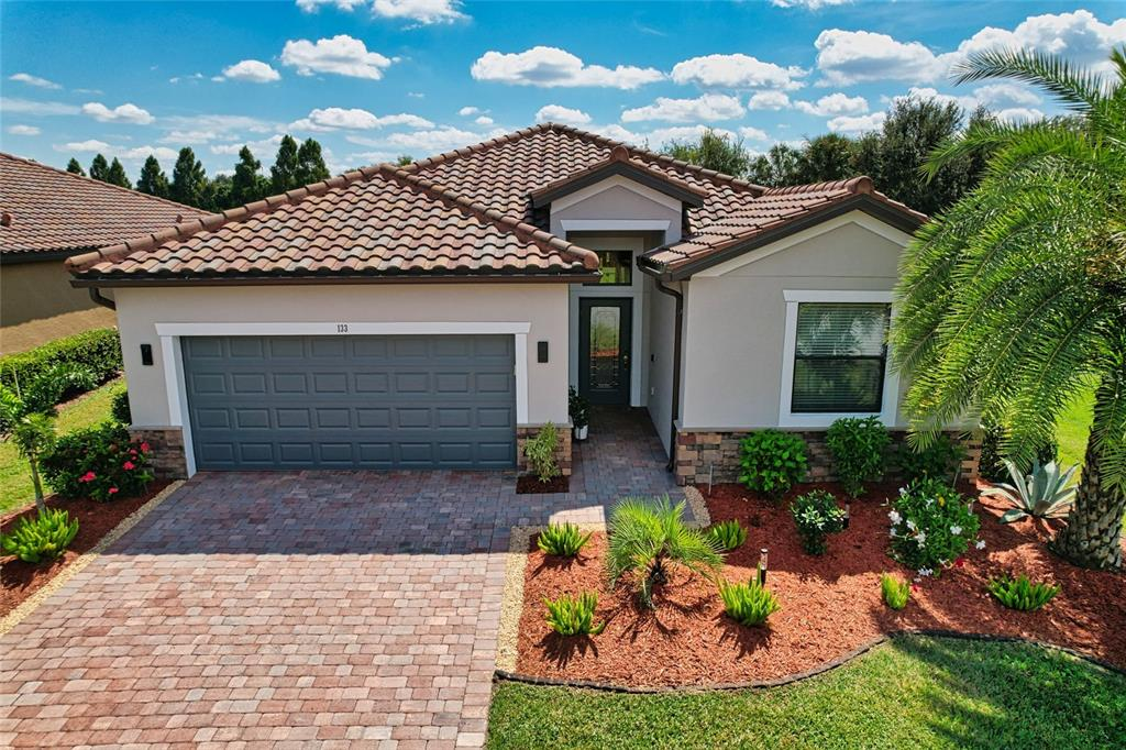 Welcome home to the beautiful Gated Community of River Strand Golf and Country Club! You won't want to miss this meticulously cared for pool home with a tranquil pond view to the east and no neighbors to the west. This popular Trevi model is a 3 bedroom, 3 bathroom home with den/office that has been meticulously cared for and shows pride of ownership from the minute you first drive up to the front of the home. This home is FULLY FURNISHED with everything included! Enjoy your own private pool with a serene water view and lots of privacy in the caged lanai with attractive brick pavers. The open floor concept of the home includes a spacious dining room, family room and kitchen with a large walk in pantry, premium stainless steel appliances and high end flooring throughout. There are built-in cabinets in the family room, dining room and office/den for additional storage. The Master Suite is spacious and features crown molding, 2 large walk-in closets, and a roomy en-suite bath area. The home has been freshly painted both inside and out. This home in the Sanctuary area, comes with a transferable social membership which is included in the low HOA fee. The Association also provides maintenance free lawn care, cable, internet and irrigation. River Strand is a 24hr gated, Maintenance Free community that offers two Clubhouses, a Fine Dining Restaurant, a Grill Room, a Pool Tiki Bar, 2 Resort Style Pools and 6 Community Pools, 8 Har-Tru Tennis Courts with on-site Tennis Pro Shop, 2 modern Fitness Centers, 8 Pickle Ball Courts, Library, Card Room, Conference Room, Basketball, Social events, Fitness Classes, a Dog Park nearby and so much more. The 39,000 sq. ft. Tuscan-inspired main clubhouse offers fine dining in the restaurant, and casual dining in the Bar and Grill room. The community also features a phenomenal 27 hole championship golf course designed by world renowned architect Arthur Hills! Conveniently located next to I-75, this home offers a quick commute to University T