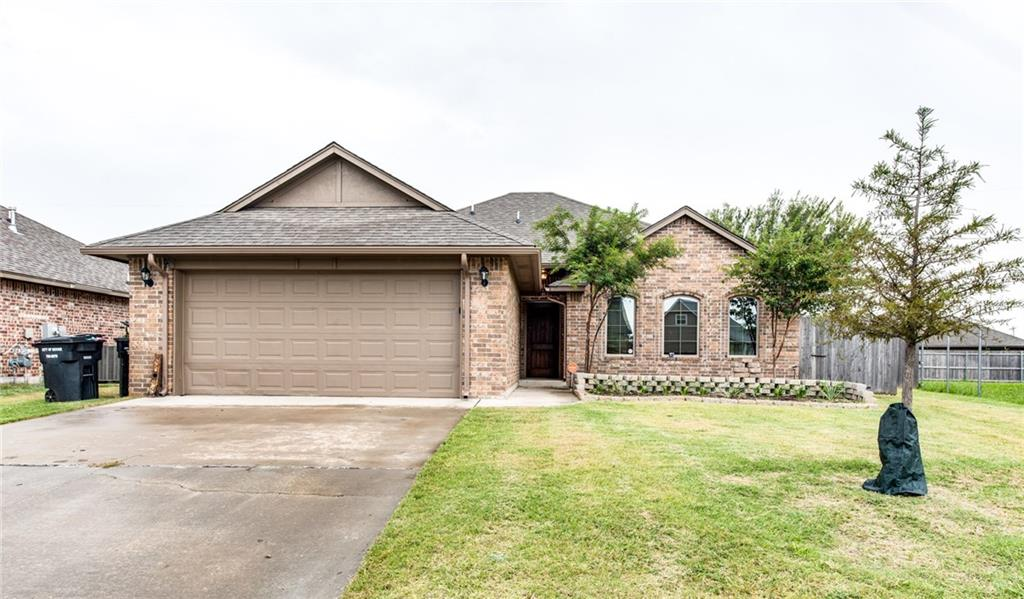 Adorable home in Moore! This home was built in 2014 with 3 bedrooms, 2 full bathrooms and a 2 car garage. All in a great location in the sought after Moore public schools. Living room has a gas fireplace and open floor plan. The kitchen has a pantry and plenty of cabinet spaces with granite counter tops. Master bedroom has plenty of space and a walk in closet. The master bathroom also has a lot of cabinets, separate vanities, as well as a large shower and a separate Jacuzzi bathtub.  The backyard has an outdoor shed, large patio and plenty of space.  This is a great home for you and your family. Schedule your showing today.