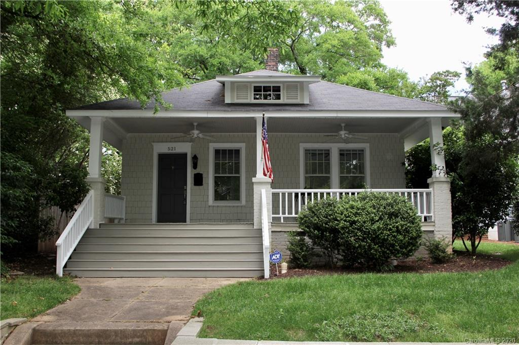 Beautiful bungalow in Historic Dilworth ready for a new owner. Enjoy a walk down the friendly tree lined sidewalks to the best amenities that Dilworth & South End have to offer. Relaxing front porch, inviting interior with spacious LR & DR. Kitchen updated in 2016 with Brazilian cherry countertops & subway tile backsplash. 2 bedrooms- 2 full baths. High ceilings. Charming fenced backyard with a nice deck perfect for entertaining. Tankless water heater. Nest thermostat. Refrigerator, washer-dryer to remain.