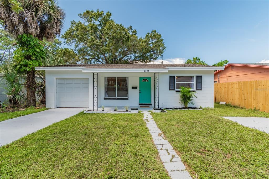 Don't miss this completed renovated two bedroom, one bath home with an attached garage. Conveniently located just ten minutes to both downtown St. Pete and St. Pete Beach, no detail has been spared. Luxury vinyl waterproof flooring spans the entire home giving it a modern feel. Updated granite kitchen and bathroom countertops have been paired with subway tile. The kitchen boasts new solid wood cabinetry and stainless steel appliances. All plumbing and electrical fixtures have been updated to allow a seem less flow throughout the open concept home. Golf enthusiasts will appreciate Twin Brooks Gold Course just up the street, or Nature lovers can visit clam bayou nature preserve for kayaking. Downtown Gulfport is a bike ride away along with several marinas to enjoy all the Gulf has to offer. Fenced in back yard for the pets and parking available for your boat/RV check more boxes on the list. Interior and exterior have been painted 2021 along with drive and walkways. The HVAC is less than two years old, updated electric panel, Roof ten years old, and an updated pvc drain from sewer up to home with clean out. Don't miss this turnkey property! (All measurements to be verified by buyer)