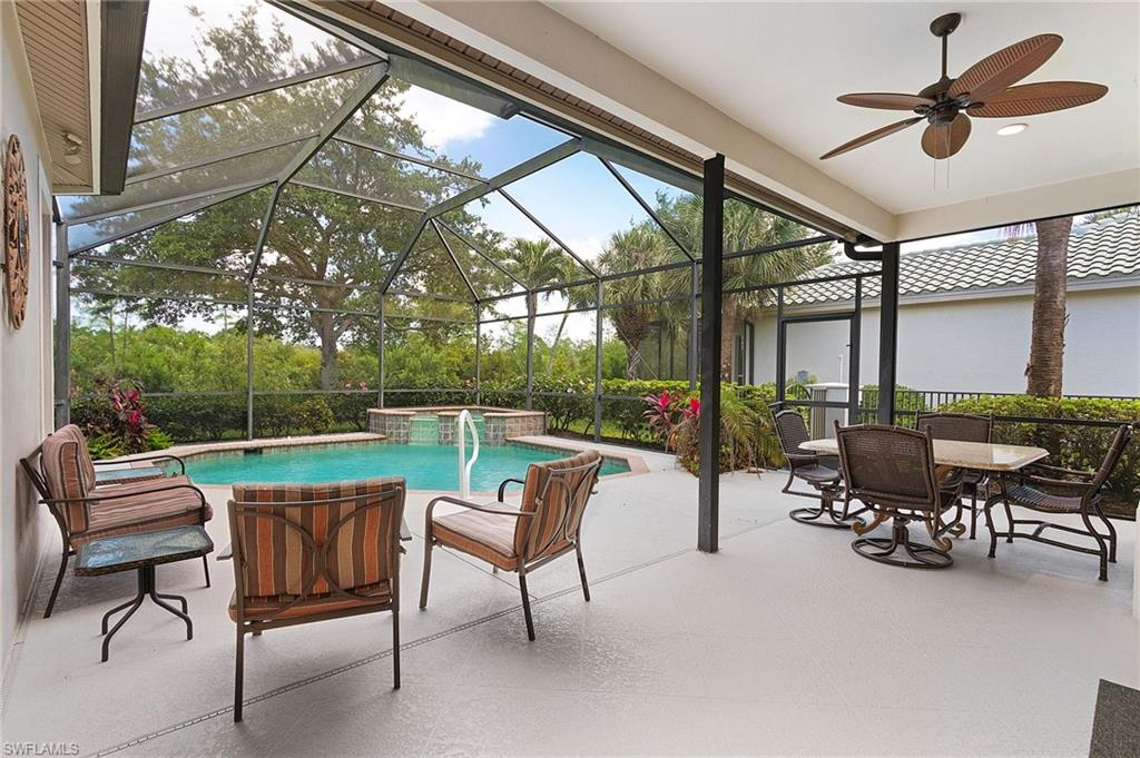 High demand Shadow Wood At The Brooks! The Tamarind Trace neighborhood is a small enclave of only 41 homes on a low traffic cul-de-sac, just off the main gate to Shadow Wood, you are close to everything in this location- the Commons Club & Golf Clubhouse (if you decide to join), Many membership options are available. Long, pavered driveway leads to this one-story beauty. Turnkey Furnished- ready for you NOW! Elegant, bright & open interior invites you to enjoy quality living. Crown molding, plantation shutters, tile on the diagonal, granite counters & formal/informal dining. Back wall of windows where the indoors/outdoors intermingle to the lanai area for entertaining. Screened pool & spa surrounded by tropical foliage. Owners retreat has door to the pool area, 2 closets & large bath. Shadow Wood offers 2 clubhouses with 2 restaurants and sunset bars,3 championship golf courses, Pro Shop, and 9 HAR true classic green clay tennis courts with Pro Shop, Bocce, Pickleball, Fitness center, a full-service spa, and access to a private beach club. Fabulous location close to world-class dining & shopping.