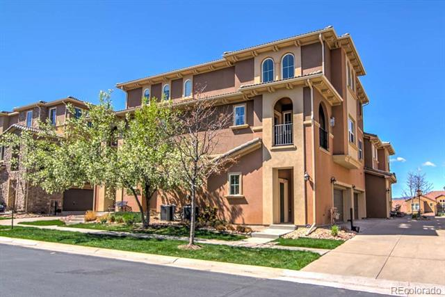 Beautiful light & bright condo w/mountain views in the highly coveted Tresana neighborhood. Enjoy maintenance-free living that includes access to all Highlands Ranch amenities plus Tresana community pool, clubhouse & fitness facility! This fantastic open floorplan welcomes you w/soaring ceilings & gleaming hardwood floors throughout the main living areas. The family room boasts tons of natural light & includes a gas fireplace & Mediterranean style balcony--the perfect space to relax on summer evenings. The dining room flows into a gorgeous open kitchen w/abundant cherry cabinets w/crown molding, granite counters & SS appliances. A main level bed & full bath are perfect for guests! Enjoy the upper level master bedroom w/mountain views & private master bath w/updated fixtures. Terrific location just mins from parks, trails, schools, golf courses, shopping, dining & entertainment w/amenities galore! Easy commutes to DTC, Lone Tree & Castle Rock w/great access to re-done C-470 & light rail