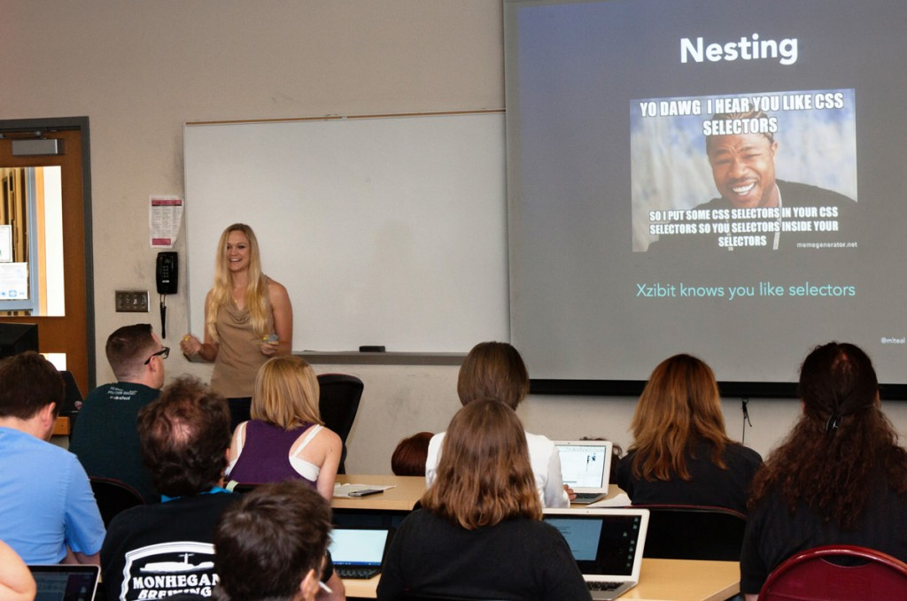 Maura Teal speaking about Sass at WordCamp Philly