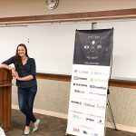 Maura Teal speaking at WordCamp San Diego 2017, photo by Brandy Lawson