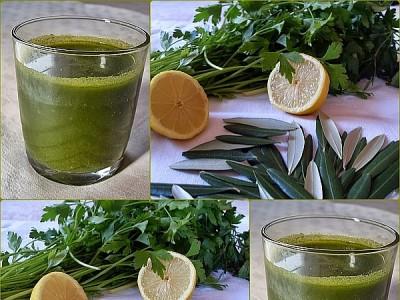 Jus énergique : persil, citron et feuilles d'olivier :: vegan