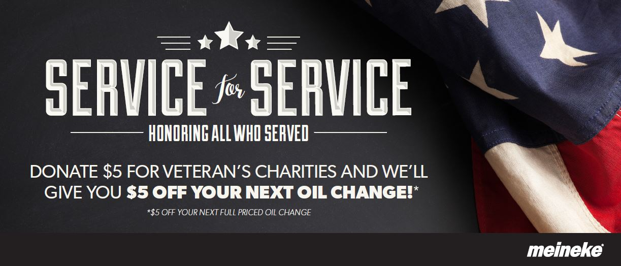 Meineke Service for Service, Donate 5 Dollars and Get 5 Dollars Off Your Next Oil Change