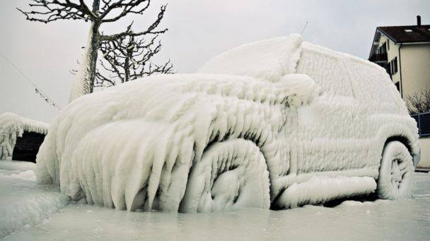 Car frozen over